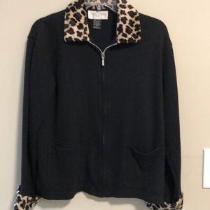 Casual Corner Jacket Knit Black Leopard Zip up Sm